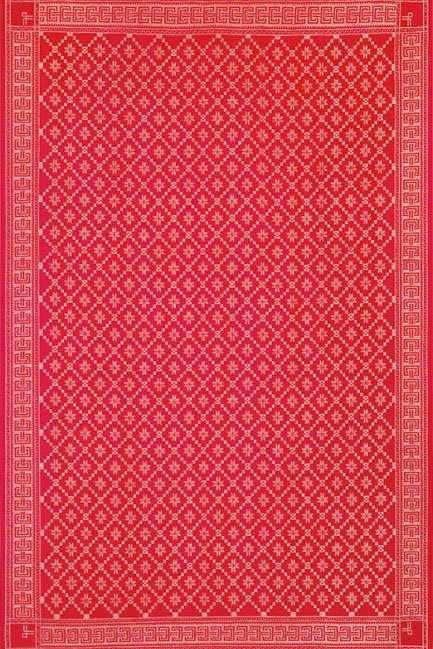 Ekelund juledug - Åttebladrose rød. Vævet rød dug fra Ekelund.