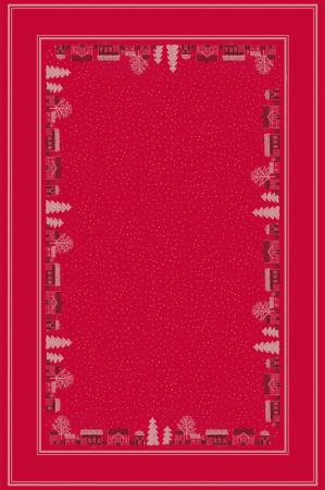 Rød juledug med landskabsmotiv fra Ekelund