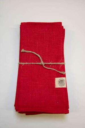 Røde stof servietter af hør