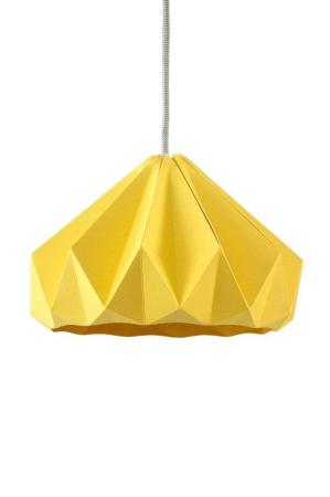 Snowpuppe gul chestnut papirlampe. Origamilampe. Gul papirlampe.