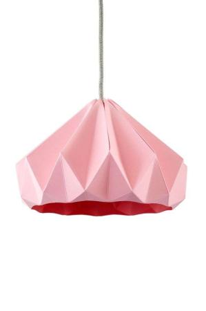Snowpuppe lyserød chestnut papirlampe. Origamilampe. Papirlampe i lyserød.