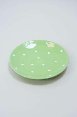 Grøn tallerken med prikker
