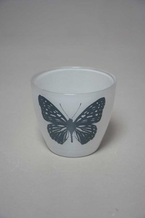 Fyrfadsstage med sommerfugl, fyrfadsstage i glas, glas fyrfadsstage