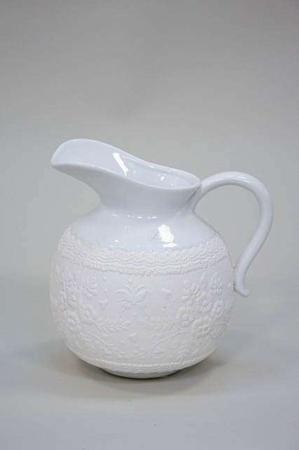 Keramik kande til vand fra Lene Bjerre - hvid med mønster