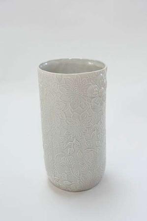 Stor gulvvase med blomster mønster - Gulvvase beige