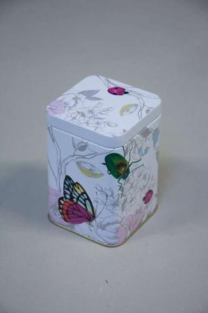 Firkantet kagedåse med sommerfugle og biller