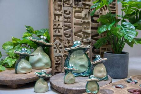 Keramik frøer til hus og have