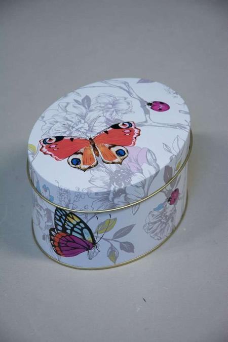 Oval kagedåse med sommerfugle og biller