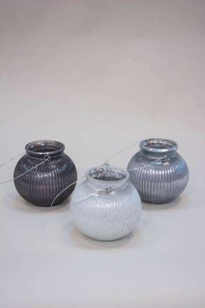 Glas bowle med hank til ophæng - fyrfadsstage grå