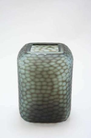 Glasvase med slibninger mørkegrå - Grøn- Glasvase firkantet - Glasvase Speedsberg