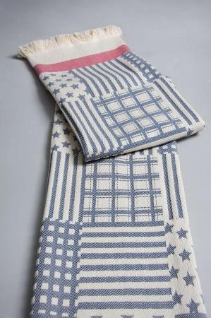 Plaid - Navy bomulds tæppe til sofa eller terrasse