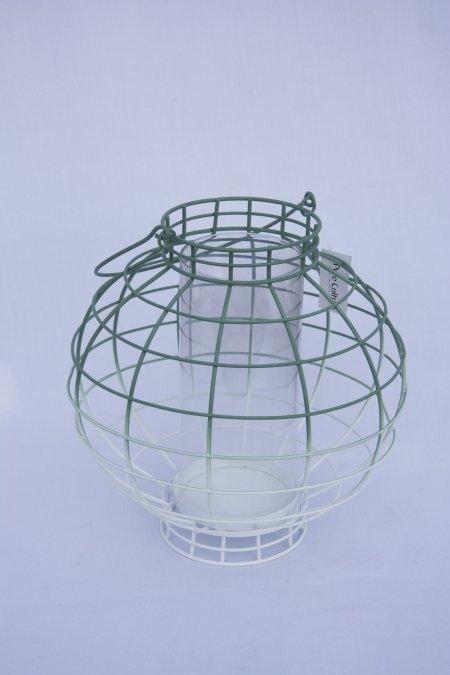 Mintgrøn lanterne i metal. Metallygte med hank. Mintgrøn lanterne.