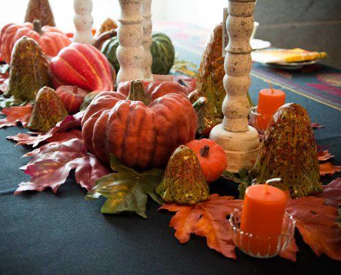 Efterårs bord med græskar