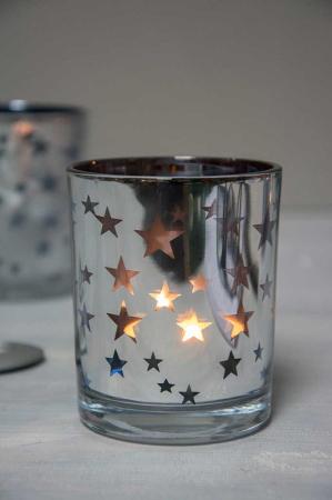 Julepynt - sølv fyrfadsglas med stjerner