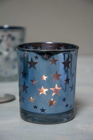 Julepynt - Blåt fyrfadsglas med stjerner