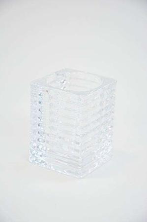 Fyrfadsstager glas - firkantet med riller