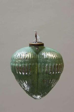 Glas juletræskugle fra Ib Laursen - grønt hjerte