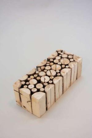 Aflang klods af træstubbe - Klods til dekoration