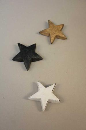 Stjerner i træ. Træstjerner. Dekostjerne i træ. Stjerne til dekoration. Hvid stjerne. Sort stjerne. Natur stjerne i træ.