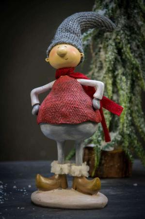 Julepynt - Ib Laursen nisse med grå hue og rødt halstørklæde. Nissemand med humor. Sjov julenisse.