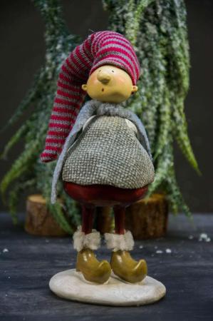 Julepynt - IB Laursen nisse - tyk stående med gave