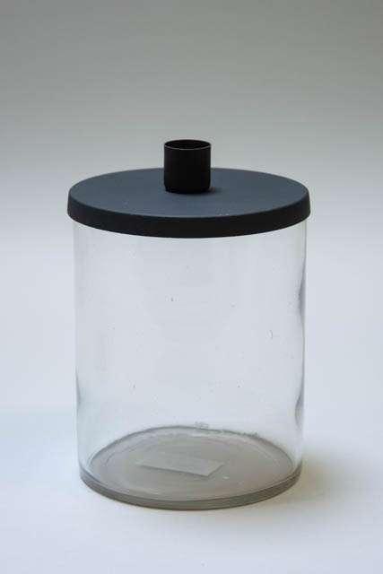 Julestage - kalenderlys glas til små bedelys med sort låg