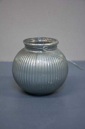 Glas bowle med metal hank til fyrfadslys