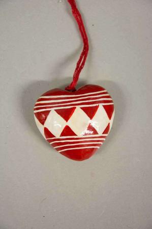 Rødt juletræspynt - hjerte
