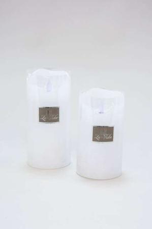 Hvide LED bloklys med bevægelig flamme og timer