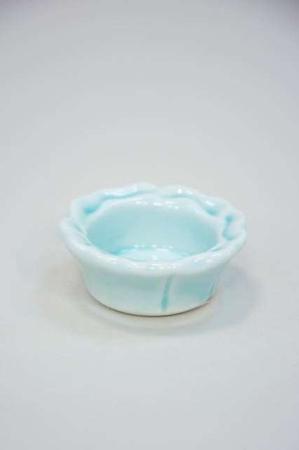 Lille blå fyrfadsstage af keramik