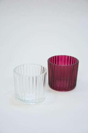 Små fyrfadsstager i farvet glas - klar glas og bordeaux