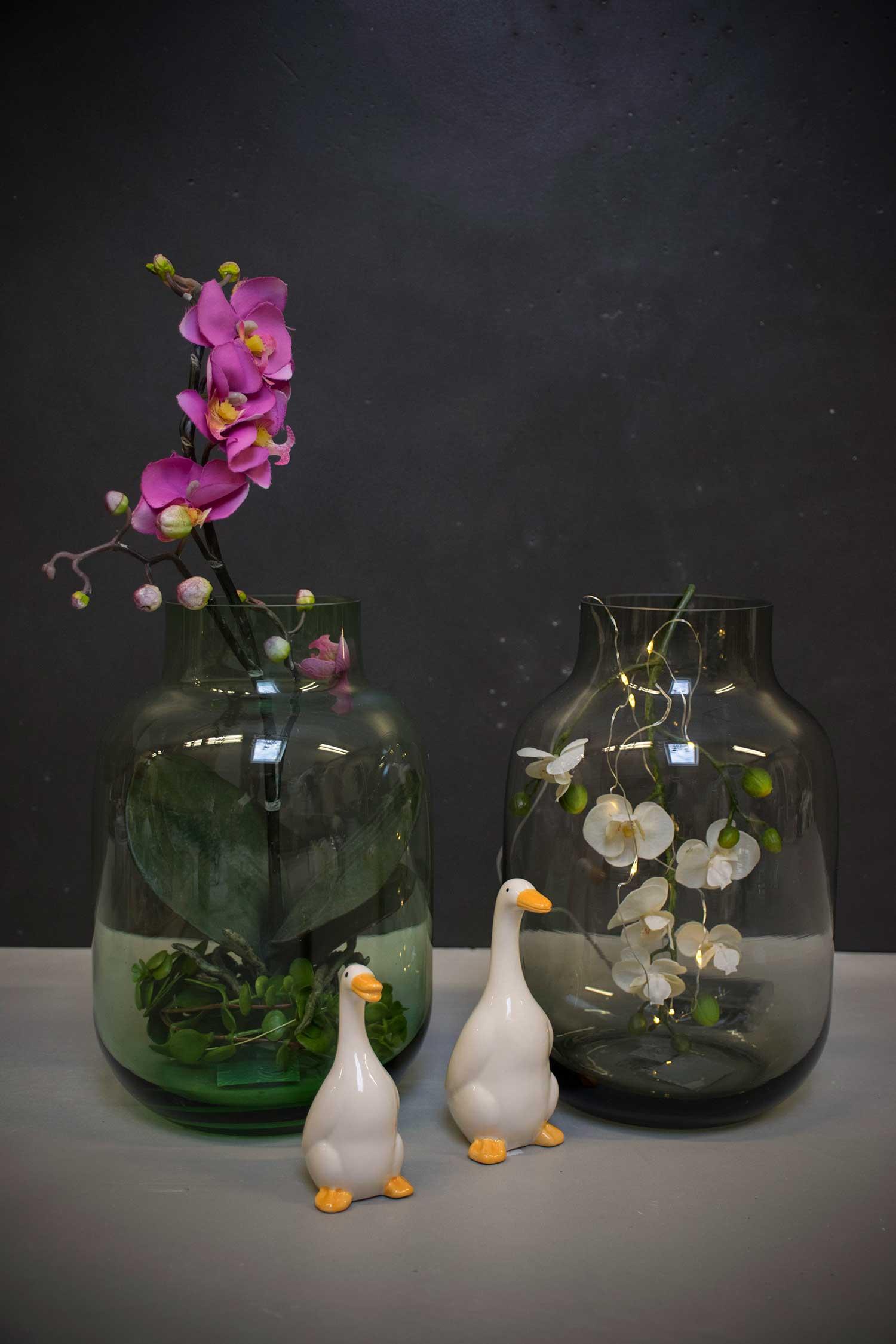 Glas vase - Grøn /grå - Neder Kjærsholm Hovedgaard