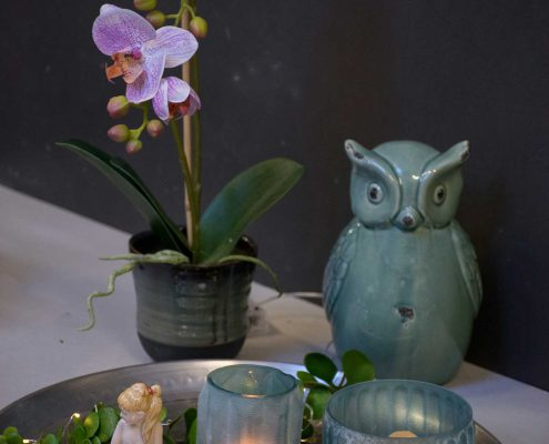 Vinter dekoration til hjemmet sølv bakke med frost blå glas
