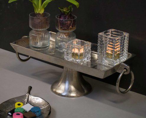 Vinter dekoration til hjemmet sølv opsats med hyacintglas og fyrfadsstager