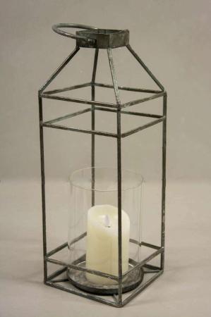 Åben lanterne med hurricaneglas. Lygtehus med lysglas. Lygte til bloklys. Udendørs lanterne.