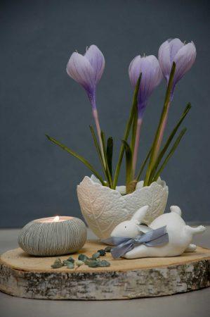Påskedekoration med krokus og påskehare
