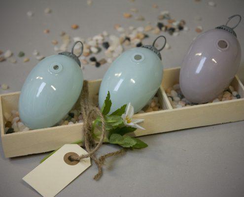 Værtindegave - glas påskeæg med vase hul