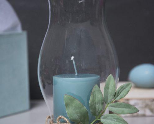 Værtindegave - hurricane glas med blomlys