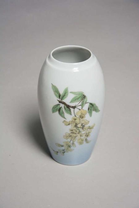 Blå Bing & Grøndahl vase med motiv af akacie