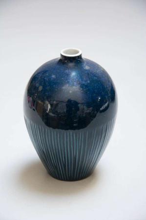 Blå keramik vase fra Lindform