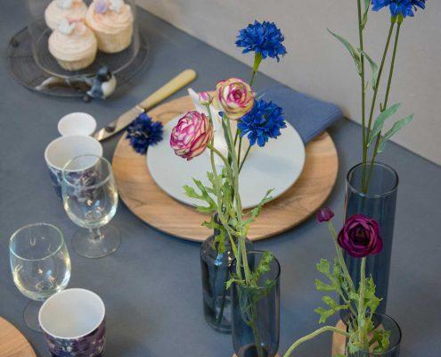 Blå påske brunch bordpynt