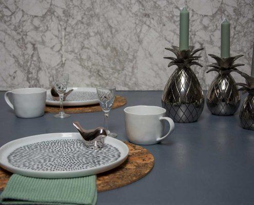 Påskebrunch med grønt påske bordpynt