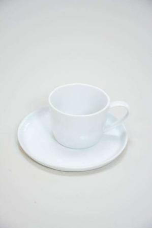 Hvid kaffekop med underkop - Delicate