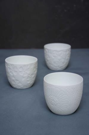 Hvide keramik fyrfadsstager