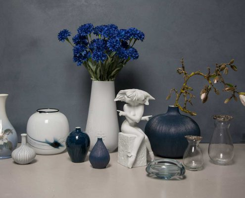 Samling af nye og gamle vaser - Royal Copenhagen, Lindform og Holmegaard