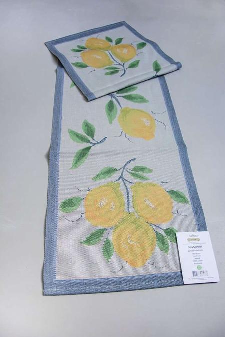 Stof bordløber - Gula Citroner. Fra firmaet Ekelund