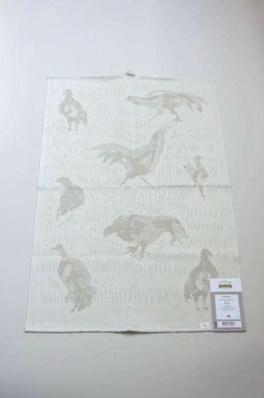 Ekelund håndklæde Linnehöna. Viskestykke med agerhøns. Viskestykke med jagtmotiv. Jæger håndklæde.
