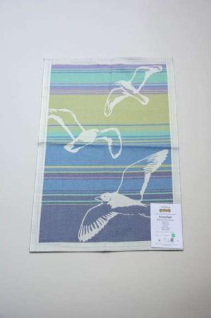Ekelund håndklæde Sommarfågel. Viskestykke med fuglemotiver. Kvalitet tekstil viskestykke håndklæde.
