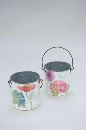 Urtepotteskjuler - Spand med hank - Zinkpotte med blomstermotiv