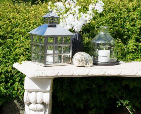 Pynt til haven - sølv lanterne hus